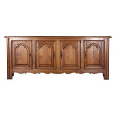 Vintage French Made Solid Chestnut Four Door Louis XIII Style Buffet Counter