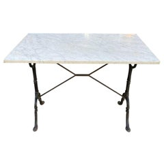Vintage French Marble and Iron Bistro Table