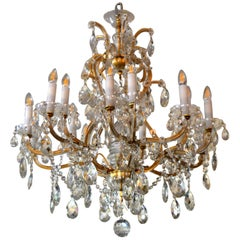 Vintage French Maria Theresa 16-Light Faceted Crystal & Gilt Metal Chandelier
