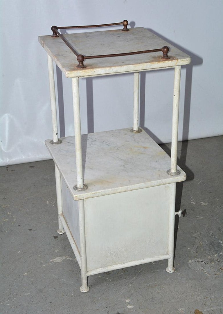 Industrial Vintage French Medical Stand or Nightstand For Sale