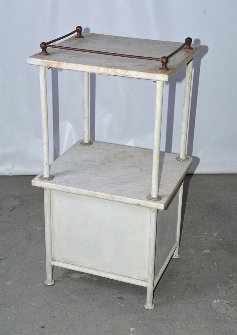 Machine-Made Vintage French Medical Stand or Nightstand For Sale