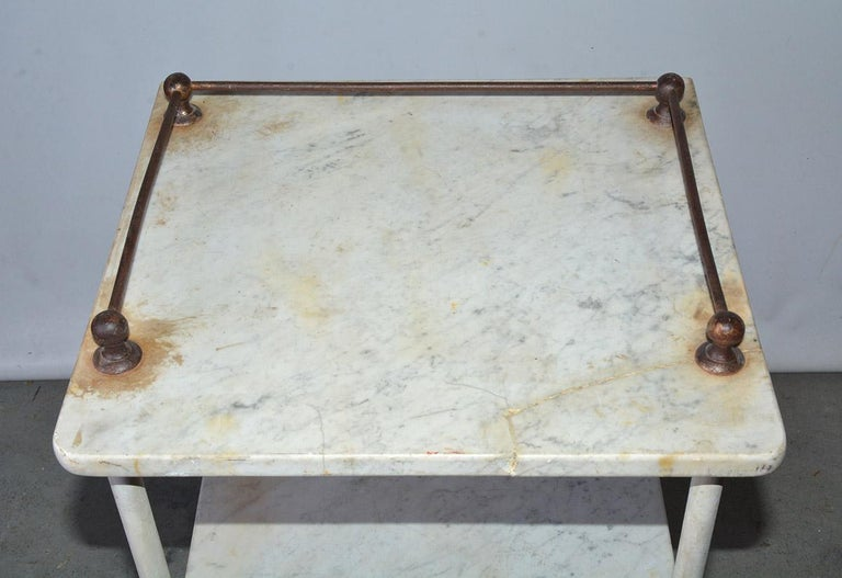 Vintage French Medical Stand or Nightstand In Good Condition For Sale In Great Barrington, MA