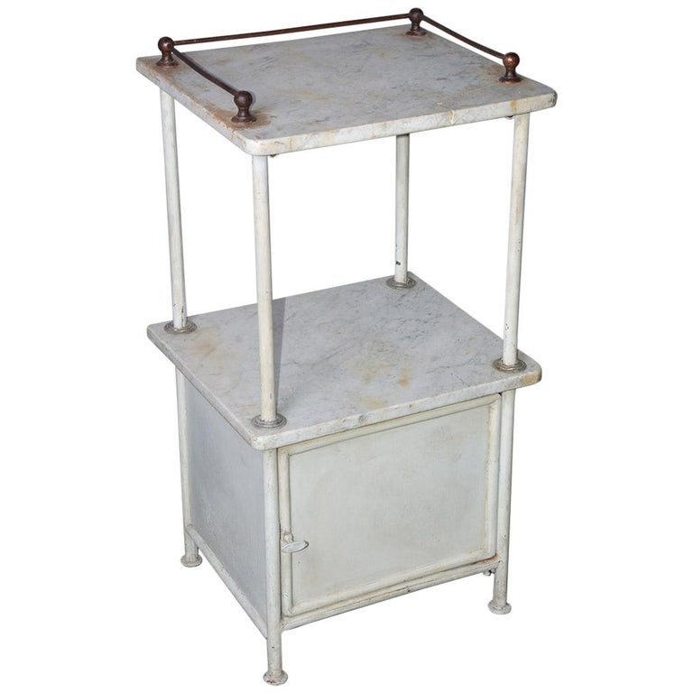 Vintage French Medical Stand or Nightstand For Sale
