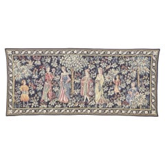 Vintage French Medieval Tapestry, the Promenade Tapestry