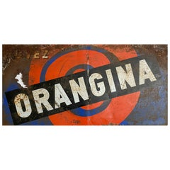 Vintage French Metal Advertising Sign Collectable Orangina Wall Art