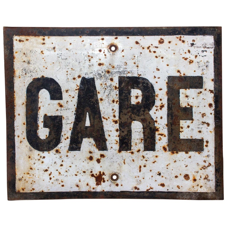 "Vintage French Metal ""Gare"" Train Station Sign For Sale"
