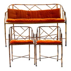 Vintage French Midcentury Faux Bamboo Set of Two Side Chair and a Sofa