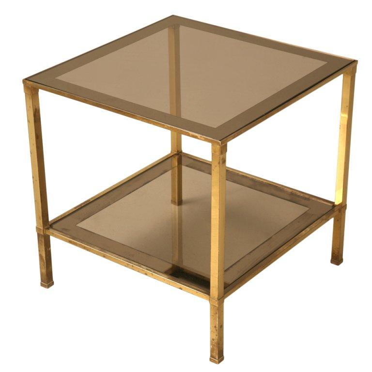 Vintage French Mid-Century Modern Design Two-Tier End/Side Table For Sale