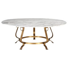 Vintage French Mid-Century Modern Marble and Gilt-Metal Dining Table Seats '10'