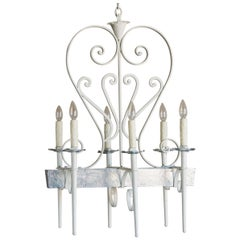 Vintage French Midcentury Painted Silver Leaf Chandelier, France, circa 1950