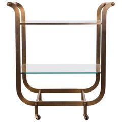 Vintage French Midcentury Brass Tea Cart with Red Leather Handles and Casters