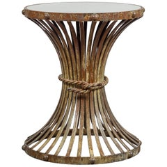 Vintage French Midcentury Metal Side Table with Reed Motifs and Mirrored Top
