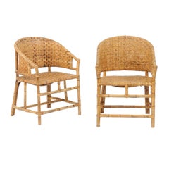 Vintage French Midcentury Woven Rattan and Bamboo Chairs