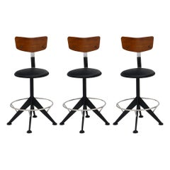 Vintage French Modernist Bar Stools