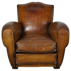 Vintage French Moustache Back Cognac-Colored Leather Club Chair, 1940s