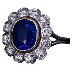 Vintage French Natural Ceylon Sapphire Diamond Gold Platinum Engagement Ring