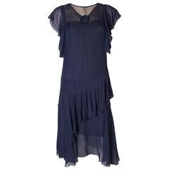 Vintage French Navy Chiffon Dress