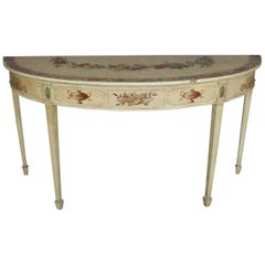 Vintage French Neoclassical Paint & Gilt Decorated Demilune Console Table
