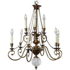 Vintage French Nine-Light Tiered Brass and Crystal Chandelier, 20th Century