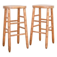Vintage French Oak Bar Stools