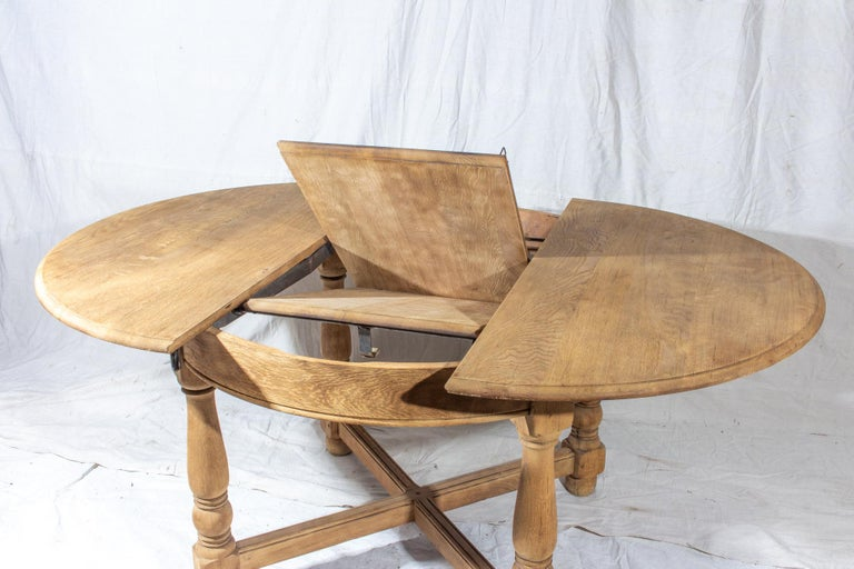 Vintage French Oak Butterfly Leaf Table For Sale 6