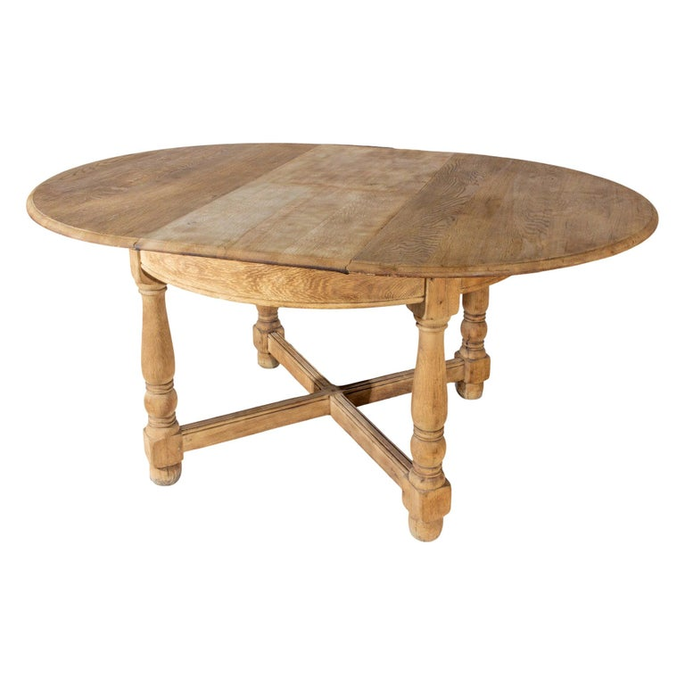 Vintage French Oak Butterfly Leaf Table For Sale