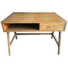 Vintage French Oak Desk, Compass Legs Attributed to René Gabriel, 1960