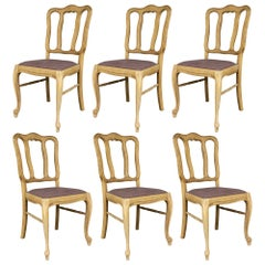 Vintage French Oak Dining Chairs with Linen Seats