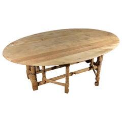 Vintage French Oak Gate Leg Drop-Leaf Table