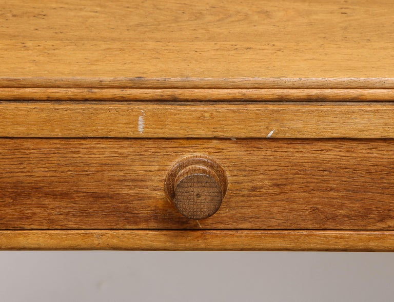 Vintage French Oak Table with Drawer Signed Mercier & Chaleyssin, circa 1940s For Sale 5