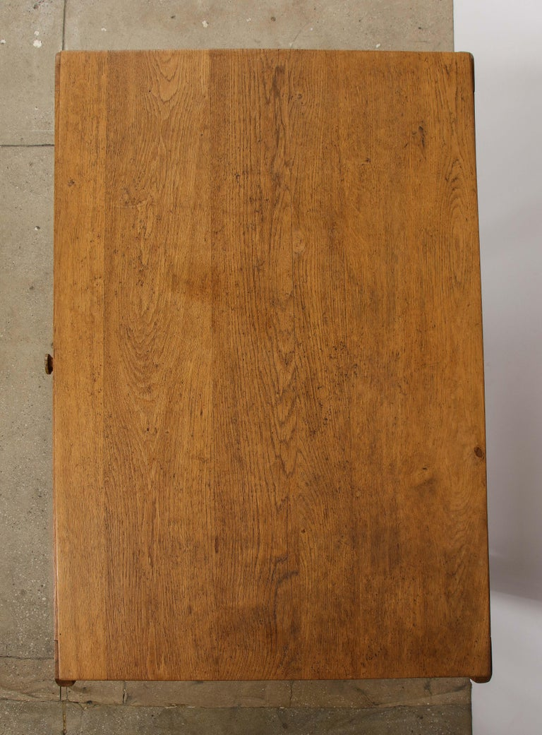 Vintage French Oak Table with Drawer Signed Mercier & Chaleyssin, circa 1940s For Sale 7