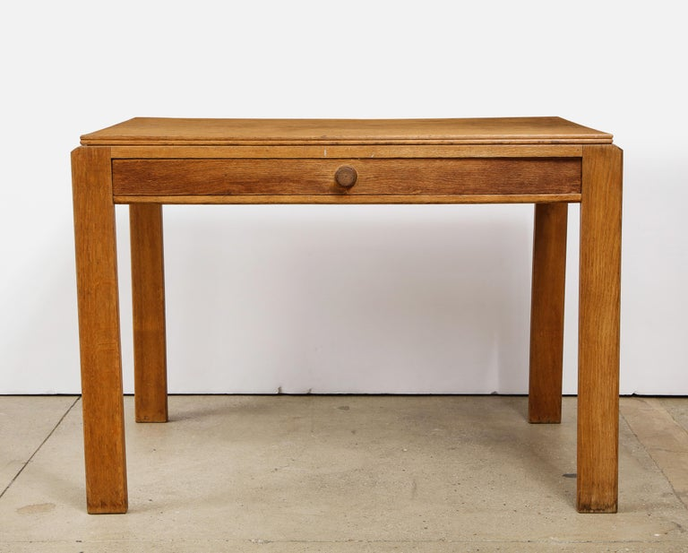 Vintage French oak table with drawer signed Mercier & Chaleyssin, circa 1940s.