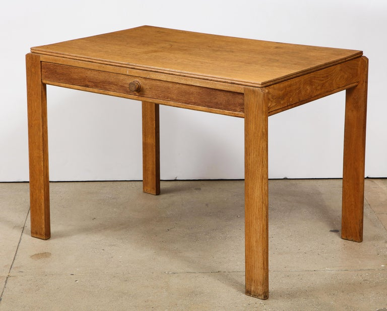 Modern Vintage French Oak Table with Drawer Signed Mercier & Chaleyssin, circa 1940s For Sale