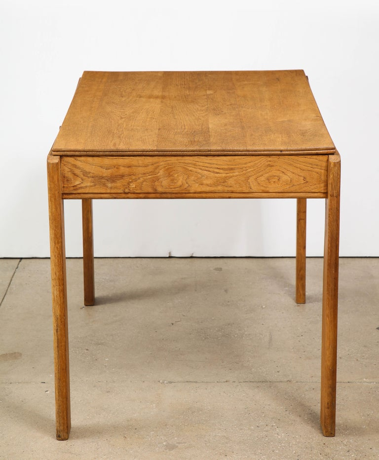 Vintage French Oak Table with Drawer Signed Mercier & Chaleyssin, circa 1940s In Good Condition For Sale In New York City, NY