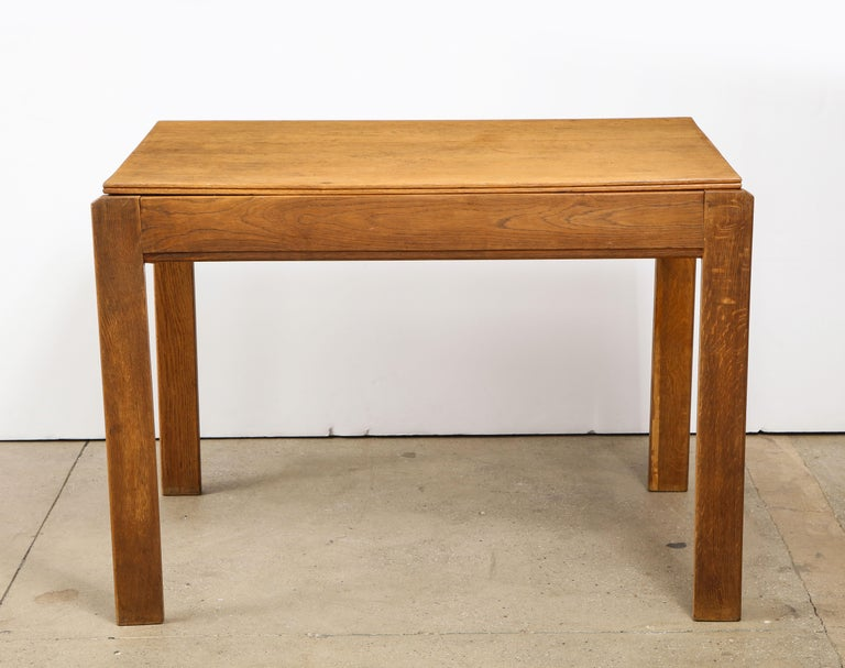 Mid-20th Century Vintage French Oak Table with Drawer Signed Mercier & Chaleyssin, circa 1940s For Sale