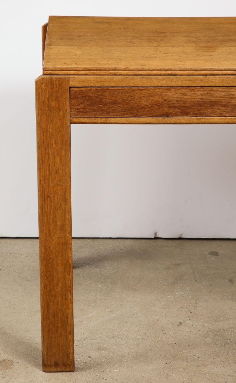 Vintage French Oak Table with Drawer Signed Mercier & Chaleyssin, circa 1940s For Sale 1