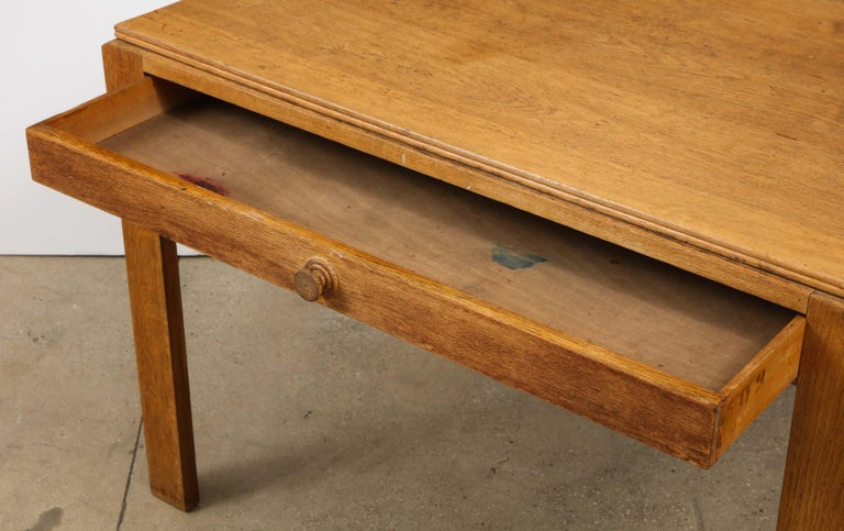 Vintage French Oak Table with Drawer Signed Mercier & Chaleyssin, circa 1940s For Sale 2