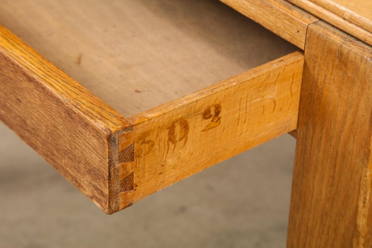 Vintage French Oak Table with Drawer Signed Mercier & Chaleyssin, circa 1940s For Sale 3