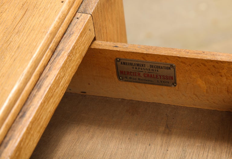 Vintage French Oak Table with Drawer Signed Mercier & Chaleyssin, circa 1940s For Sale 4