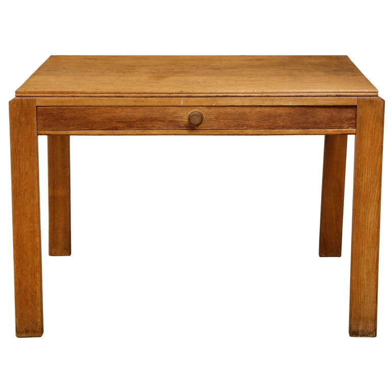Vintage French Oak Table with Drawer Signed Mercier & Chaleyssin, circa 1940s For Sale
