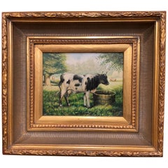 Vintage French Oil on Board Cow Painting in Carved Giltwood Frame
