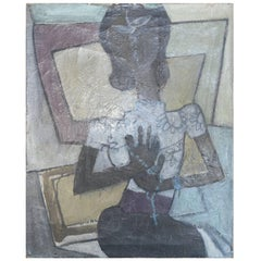 Vintage French Oil on Canvas of Woman Holding a Rosary in the Cubism Style