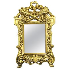 Vintage French Ornate Gold Miniature Mirror Brooch 1970s