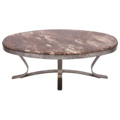 Vintage French Oval Marble and Brushed Steel Coffee Table