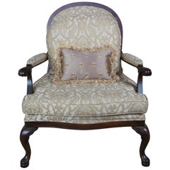 Vintage French Oversized Library Club Armchair Lattice Queen Anne Accent