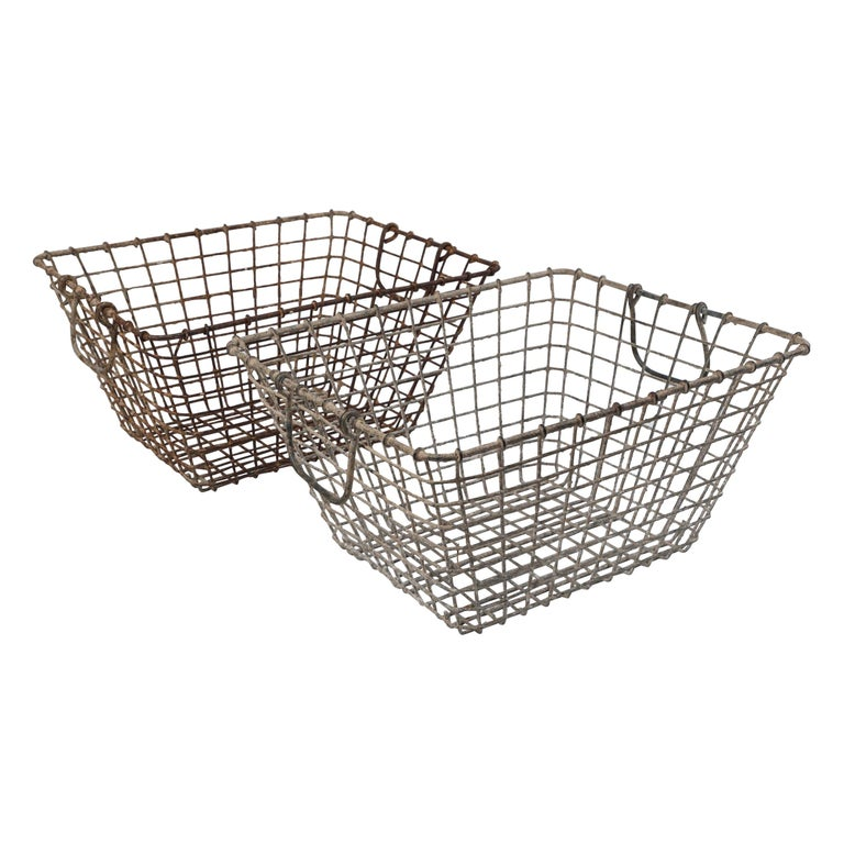 Vintage French Oyster Baskets, Set of Two, 20th Century For Sale