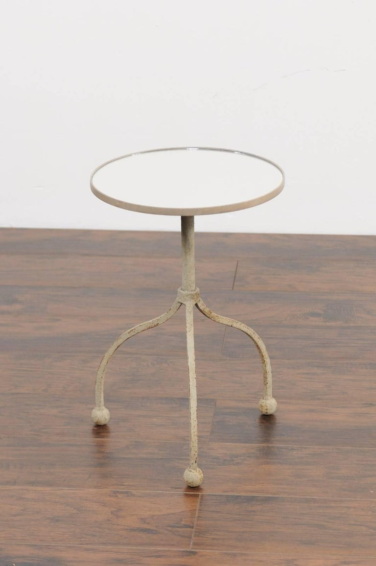 20th Century Vintage French Painted Iron Circular Side Table with Tripod Base, circa 1940 For Sale
