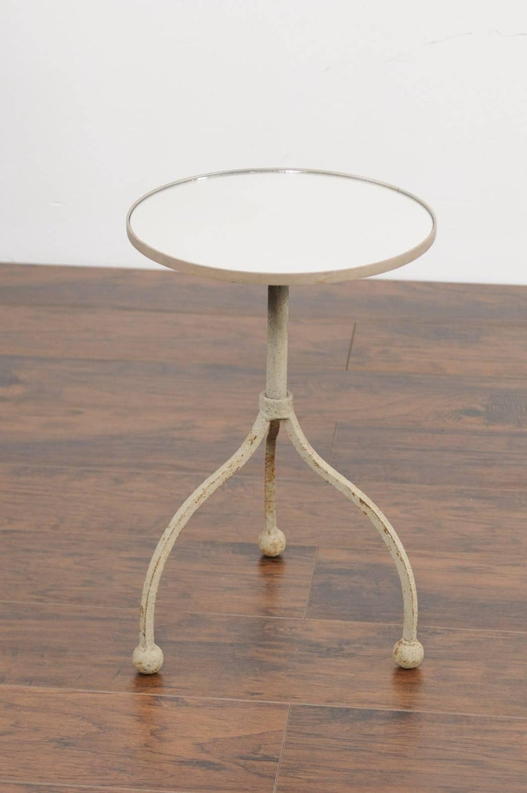 Mirror Vintage French Painted Iron Circular Side Table with Tripod Base, circa 1940 For Sale