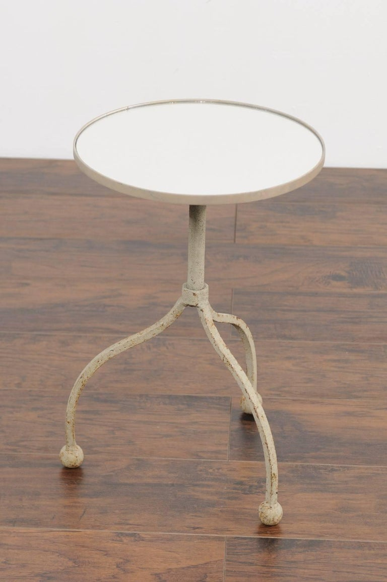 Vintage French Painted Iron Circular Side Table with Tripod Base, circa 1940 For Sale 2