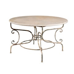 Vintage French Painted Iron Garden Table with Marble Top and Scrolled Base